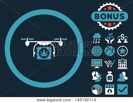 Drugs Drone Shipment icon with bonus pictogram. Vector illustration style is flat iconic bicolor symbols blue and white colors dark blue background.