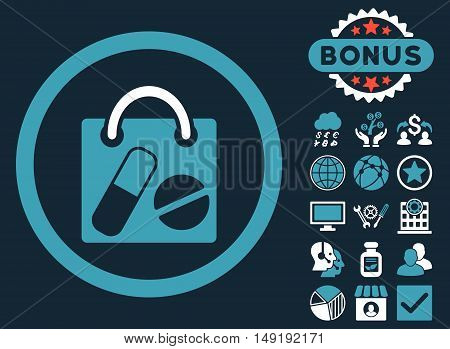 Drugs Shopping Bag icon with bonus images. Vector illustration style is flat iconic bicolor symbols blue and white colors dark blue background.