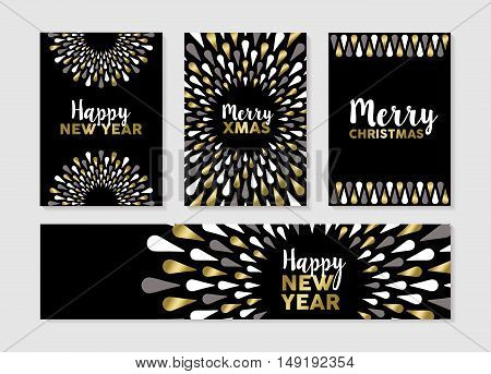 Christmas And New Year Set Of Gold Card Designs