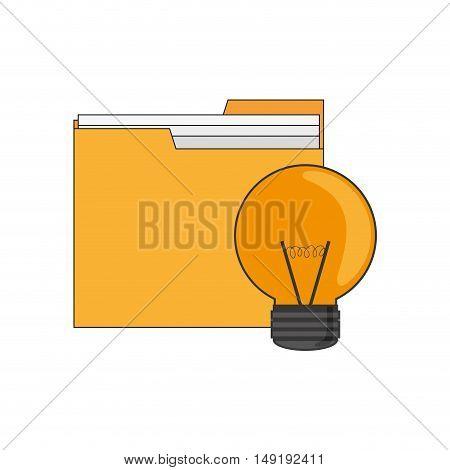 flat design file folder and lightbulb  icon vector illustration