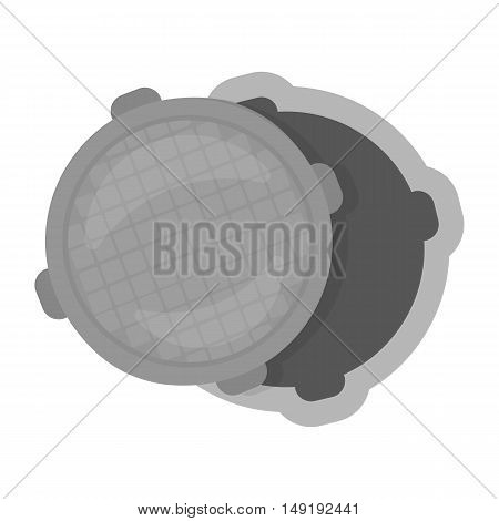 Manhole icon in cartoon style isolated on white background. Plumbing symbol vector illustration.