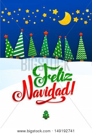 Happy New Year Background Inscription Spanish Language  Greeting Card. Lettering, vector illustration. Volume toys, fir trees and snowdrifts. Holiday decoration