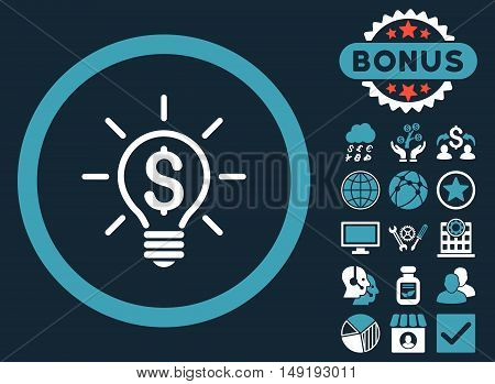 Electric Light Price icon with bonus elements. Vector illustration style is flat iconic bicolor symbols blue and white colors dark blue background.
