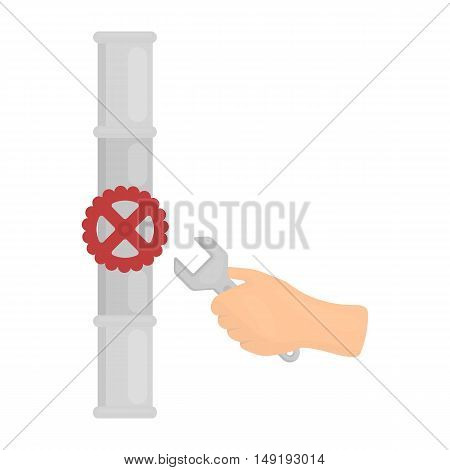 Wrench and valve icon in cartoon style isolated on white background. Plumbing symbol vector illustration.