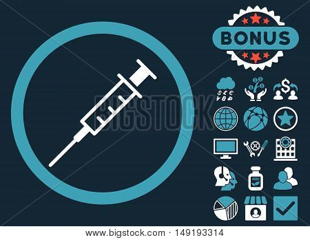 Empty Syringe icon with bonus design elements. Vector illustration style is flat iconic bicolor symbols blue and white colors dark blue background.