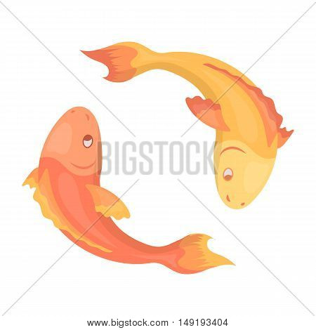 Koi fishes icon in cartoon style isolated on white background. Religion symbol vector illustration.