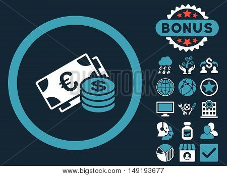 Euro and Dollar Cash icon with bonus symbols. Vector illustration style is flat iconic bicolor symbols blue and white colors dark blue background.