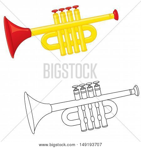 Cartun trumpet toy. Coloring book. Vector illustration