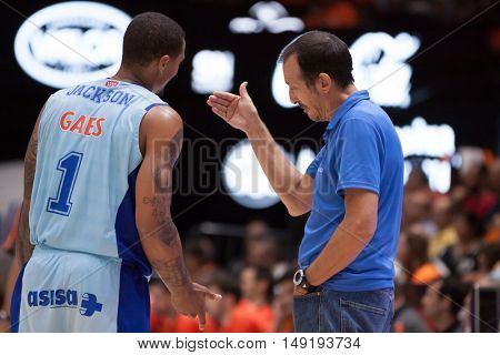 VALENCIA, SPAIN - SEPTEMBER 25th: (L) Edwin and Maldonado during match between Valencia Basket and Estudiantes at Fonteta Stadium on September 25, 2016 in Valencia, Spain