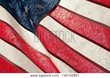 Series Of Ruffled Flags Against Sun - Usa