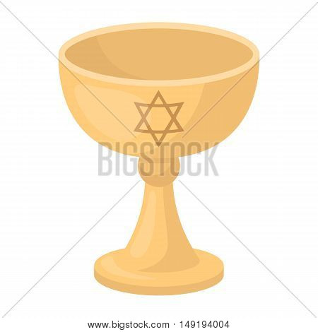 Wine cup icon in cartoon style isolated on white background. Religion symbol vector illustration.