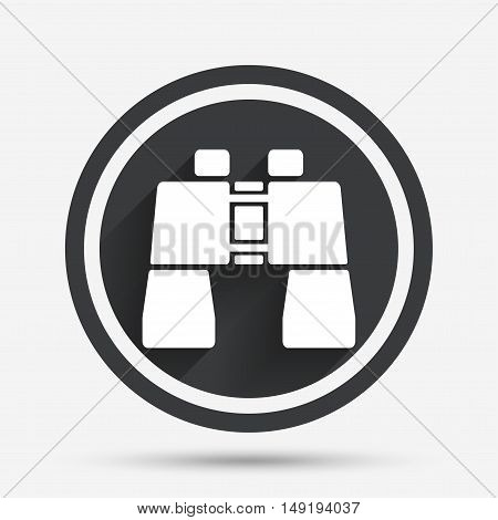 Binocular sign icon. Search symbol. Find information. Circle flat button with shadow and border. Vector