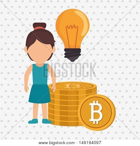 woman bit coin idea vector illustration eps 10