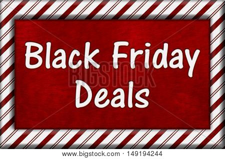Black Friday Shopping Deals Candy Cane Striped Frame with plush red background with text Black Friday Deals 3D Illustration