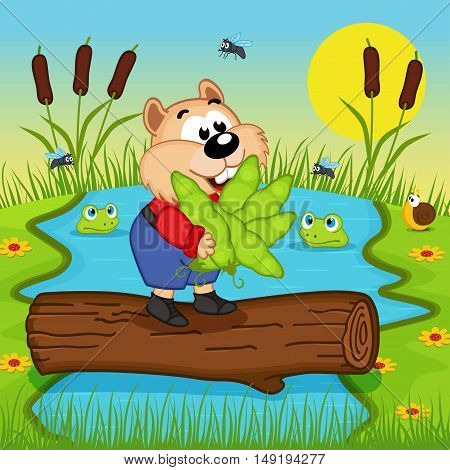 hamster with peas cross the river - vector illustration, eps