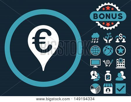 Euro Bank Map Pointer icon with bonus pictogram. Vector illustration style is flat iconic bicolor symbols blue and white colors dark blue background.