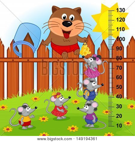 cat on fence height measure (in original proportions 1 to 4) - vector illustration, eps