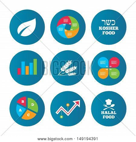 Business pie chart. Growth curve. Presentation buttons. Natural food icons. Halal and Kosher signs. Gluten free. Chief hat with fork and spoon symbol. Data analysis. Vector