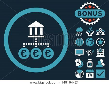 Euro Bank Transactions icon with bonus pictures. Vector illustration style is flat iconic bicolor symbols blue and white colors dark blue background.