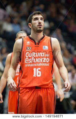 VALENCIA, SPAIN - SEPTEMBER 25th: Guillem Vives during match between Valencia Basket and Estudiantes at Fonteta Stadium on September 25, 2016 in Valencia, Spain
