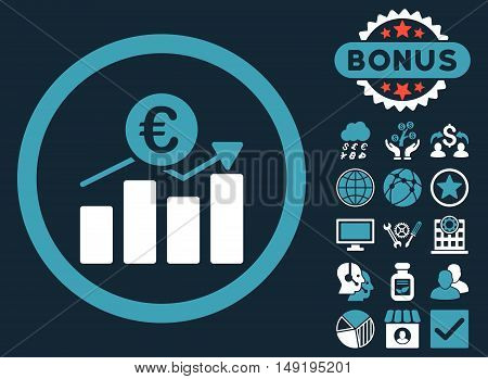 Euro Business Chart icon with bonus design elements. Vector illustration style is flat iconic bicolor symbols blue and white colors dark blue background.