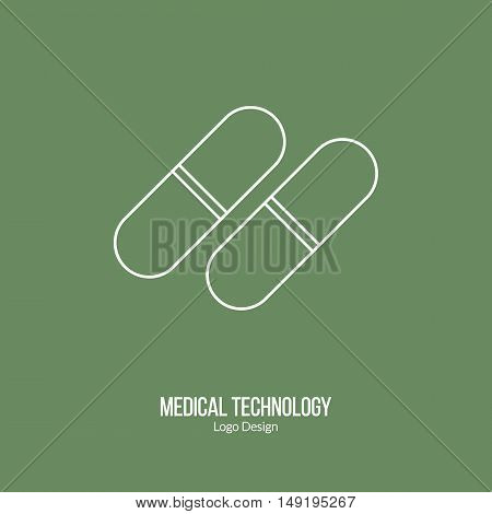 Capsule pill. Single logo in modern thin line style isolated on green background. Outline medical symbol. Simple mono linear pictogram. Stroke vector logotype template.