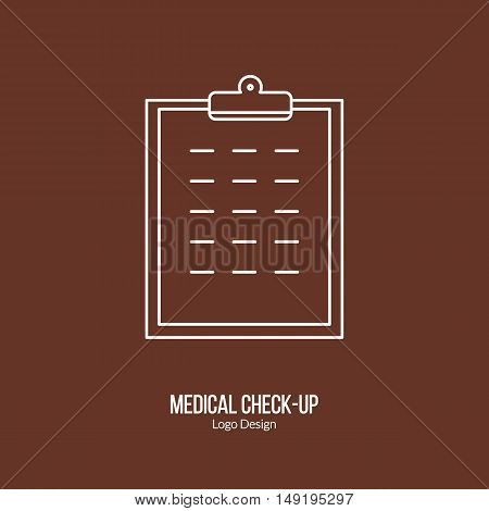 Patient chart clipboard. Single logo in modern thin line style isolated on brown background. Outline medical symbol. Simple mono linear pictogram. Stroke vector logotype template.