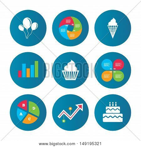 Business pie chart. Growth curve. Presentation buttons. Birthday party icons. Cake with ice cream signs. Air balloons with rope symbol. Data analysis. Vector