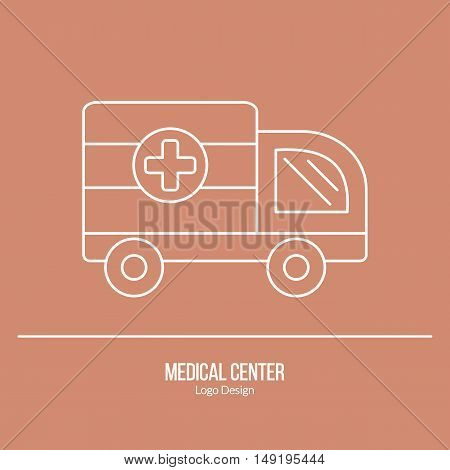 Ambulance 911 vehicle. Single logo in modern thin line style isolated on brown background. Outline medical symbol. Simple mono linear pictogram. Stroke vector logotype template.