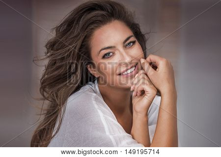 Beauty Portrait Of Natural Adult Woman.