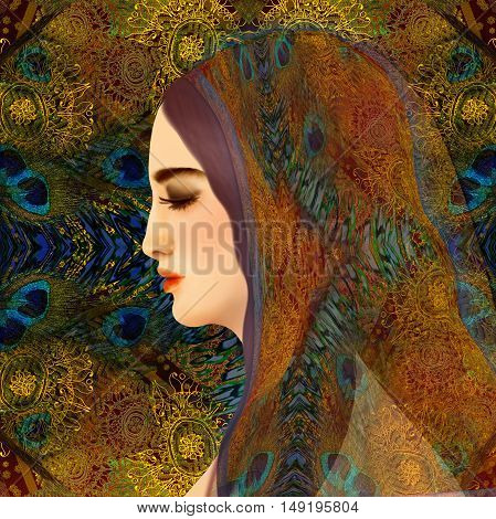oriental woman face on a floral background