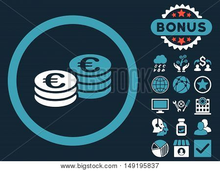 Euro Coin Stacks icon with bonus images. Vector illustration style is flat iconic bicolor symbols blue and white colors dark blue background.