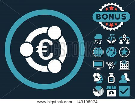 Euro Collaboration icon with bonus design elements. Vector illustration style is flat iconic bicolor symbols blue and white colors dark blue background.