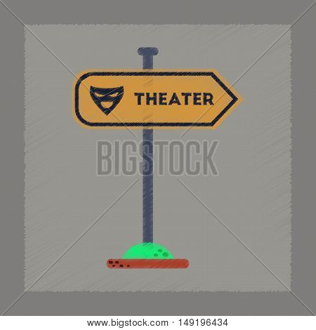 flat shading style icon of theater sign