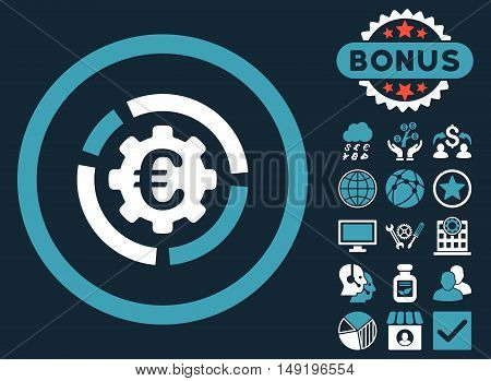 Euro Diagram Options icon with bonus pictogram. Vector illustration style is flat iconic bicolor symbols blue and white colors dark blue background.