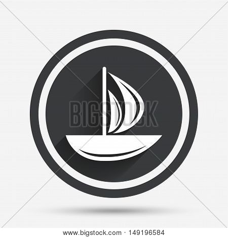 Sail boat icon. Ship sign. Shipment delivery symbol. Circle flat button with shadow and border. Vector