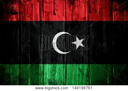 Flag of Libya overlaid with grunge texture