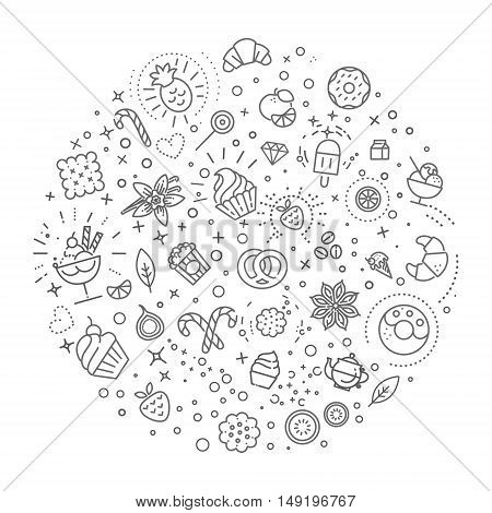 icon collection - sweet food and fruits, cookie