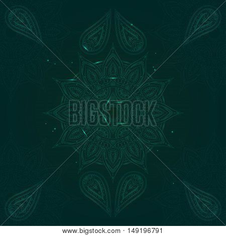 Chakra Anahata on Dark Green Background for Your Design. Vector illustration