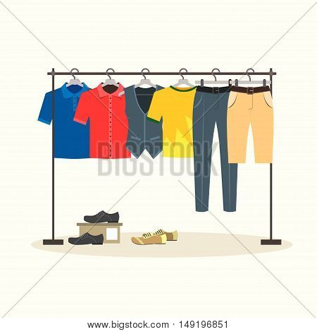 Clothes Racks with Menswear on Hangers. Flat Design Style. Vector illustration