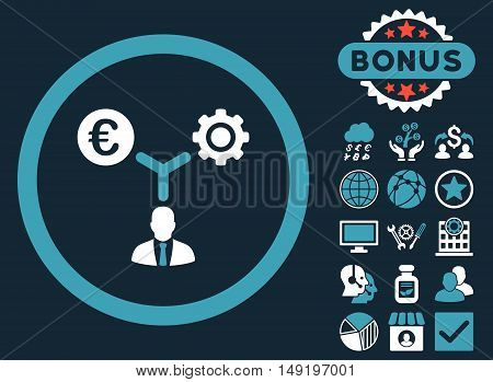 Euro Financial Development icon with bonus elements. Vector illustration style is flat iconic bicolor symbols blue and white colors dark blue background.