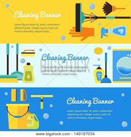 Cleaning Horizontal Banner Set. Flat Design Style. Vector illustration
