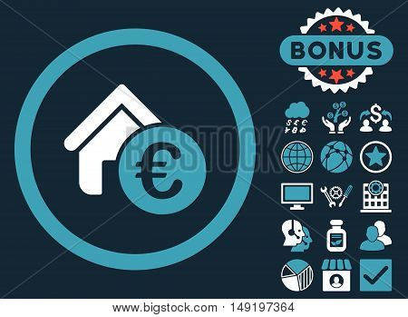 Euro Home Rent icon with bonus design elements. Vector illustration style is flat iconic bicolor symbols blue and white colors dark blue background.