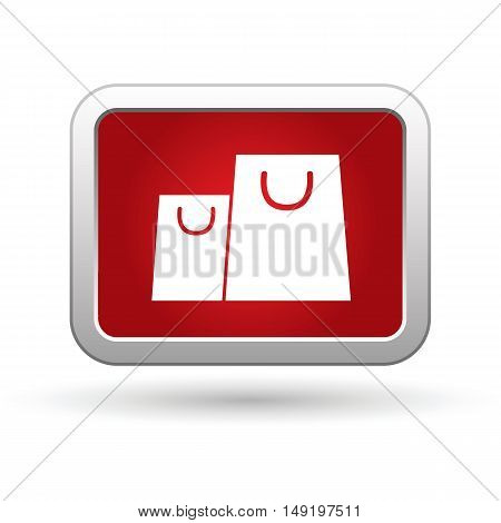 Shopping bag icon on the red button. Vector