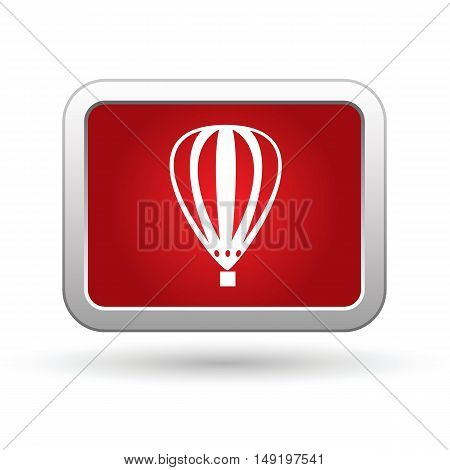 Hot air balloon icon on the red button. Vector