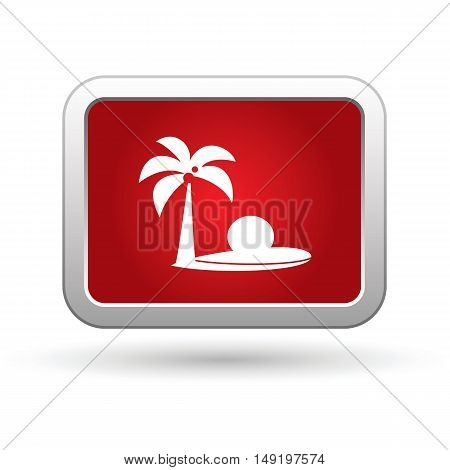 Tropical beach icon on the red button. Vector