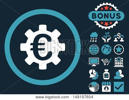 Euro Machinery icon with bonus images. Vector illustration style is flat iconic bicolor symbols blue and white colors dark blue background.