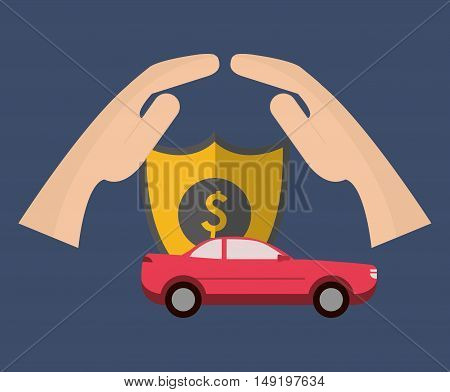 shield and car, with insurance services related icons image vector illustration