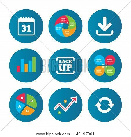 Business pie chart. Growth curve. Presentation buttons. Download and Backup data icons. Calendar and rotation arrows sign symbols. Data analysis. Vector