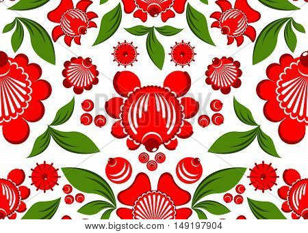 Gorodets Painting Seamless Pattern. Floral Ornament. Russian National Folk Craft. Traditional Decora